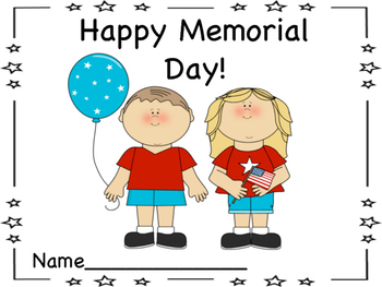 Happy Memorial Day! Book and American Flag Coloring Page