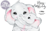 Happy Mom and Baby Elephant Boy Girl Clip Art, PNG images