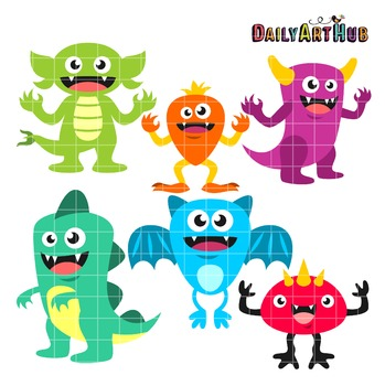 Happy Monsters Clip Art - Great for Art Class Projects!