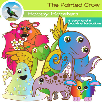 Happy Monsters Clipart Set - Creatures clipart - Color & Black Line graphics