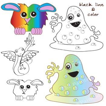 Happy Monsters Clipart Set - Creatures clipart - Color & Black Line graphics