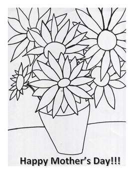 Happy Mother's Day Coloring Page- Inspired by Van Gogh's Sunflowers
