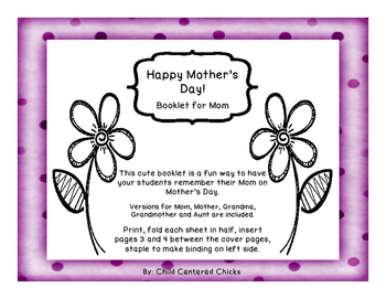 Happy Mother's Day!   A Booklet for Mom