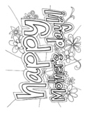 Happy Mothers' Day DIFFICULT word search and coloring page (Sub Plan?)