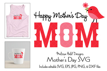 Happy Mothers Day Graphic with Cute Bird