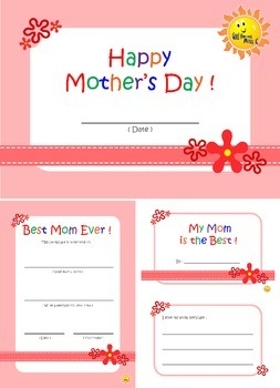 Happy Mother's Day. Mini Book and Certificate.