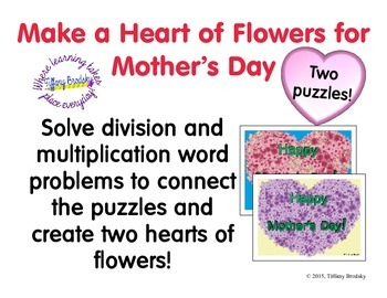 Happy Mother's Day Multiplication and Division Word Problem Puzzles