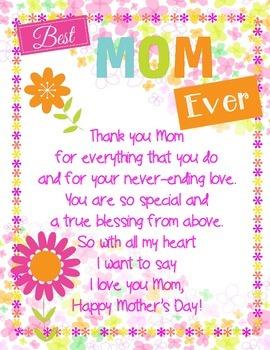 Happy Mother's Day Printable Poem Freebie!