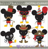 Happy Mouse Digital Clip Art (boy version)