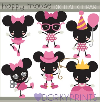 Happy Mouse Digital Clip Art (girl version)