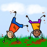 Happy Mud Boys Clip Art Cartoon