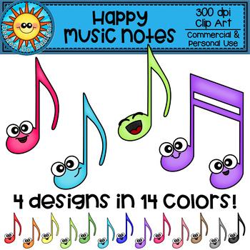 Happy Music Notes Rainbow Clip Art