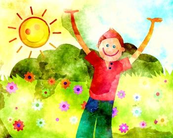 Happy Nature Boy Watercolor Illustration