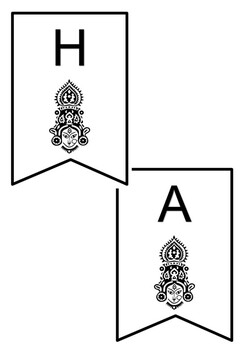 Happy Navratri, Pennant Banner Coloring Sheets, Set 2, Ancient Indian festival