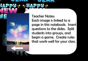 Happy New Year 10 question review game template for SMART notebook