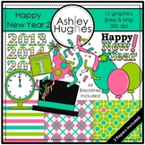Happy New Year 2 Clipart {A Hughes Design}