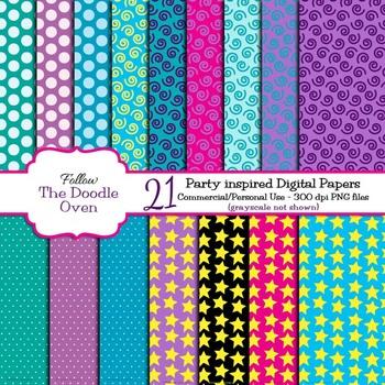 Stars, Polka Dots, and Swirls Digital Paper