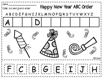 happy new year free worksheet on abc order by bb kidz tpt. Black Bedroom Furniture Sets. Home Design Ideas