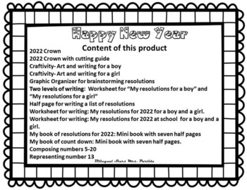 The  New Year 2017 - Craftivity Printables Resolutions books Mrs. Partida