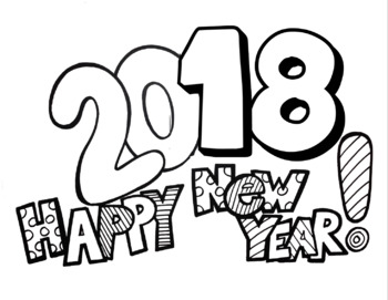 Happy New Year 2016 FREEBIE Coloring Page