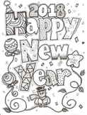 Happy New Year 2018 Coloring Sheet