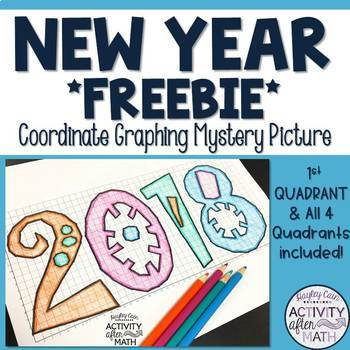Happy New Year 2018 Coordinate Graphing Picture FREEBIE