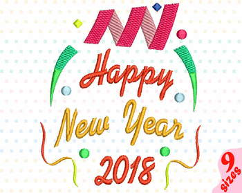 Happy New Year 2018 Embroidery Design Party New Year's 2018 Fireworks 159b