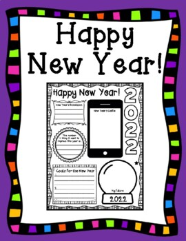 Happy New Year 2018 New Year's Goals and Resolutions Kid Friendly Printable