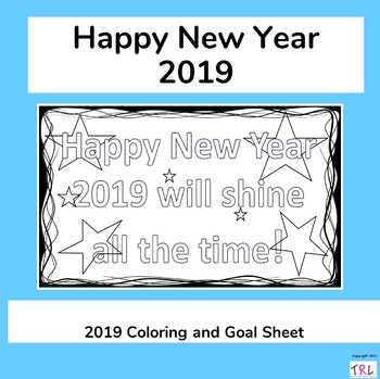 New Year 2019 Coloring & Goal Sheet