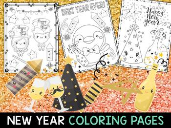 Happy New Year 2019 The Crayon Crowd Coloring Pages By Little Lotus