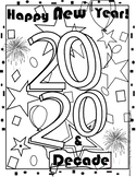 Happy New Year 2020 Coloring Sheet