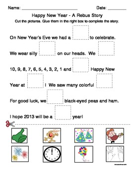Happy New Year - A Rebus Story by Teacher Treats | TpT