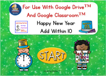 happy new year addition within 10 for google classroom and google slides