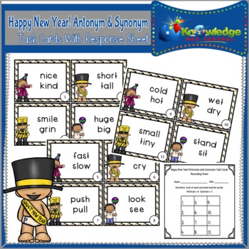 Happy New Year! Antonym and Synonym Task Cards With Response Sheet