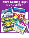 Happy New Year Bonne année French Adult Coloring Page BUNDLE