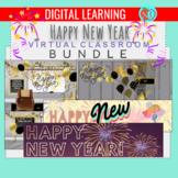 Happy New Year Bundle   EDITABLE   Virtual Classrooms BUNDLE   Animated Banners