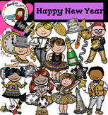 Happy New Year Clip Art- Black, Silver & Gold Theme Party