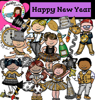 happy new year clip art black silver gold theme party