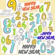 Happy New Year Clip Art Bundle PNG JPG Blackline Commercial or Personal