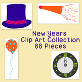 Happy New Year Clip Art PNG JPG Blackline Commercial or Personal