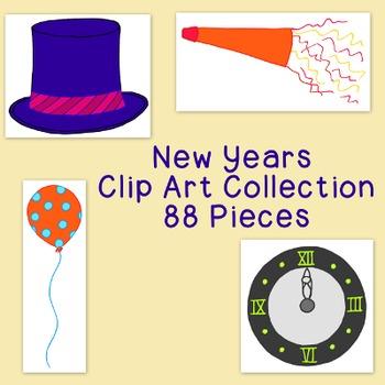 Happy New Year Clip Art Bundle PNG JPG Blackline Commercia