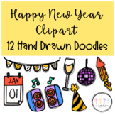 Happy New Year Clipart I Hand Drawn Doodles