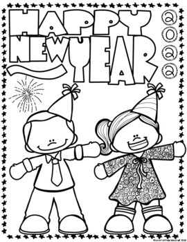 Happy New Year Teddy Bear Coloring Page - Free Coloring Pages Online | 350x270