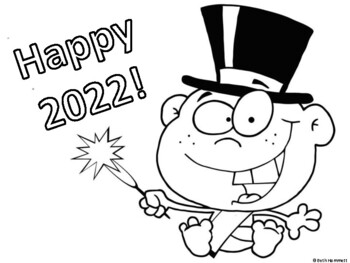 Happy New Year Coloring Sheets for Early Learners