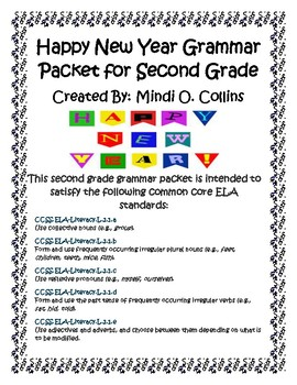 Happy New Year Common Core Grammar Packet for Second Grade