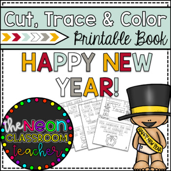"""Happy New Year"" Cut, Trace & Color Printable Book!"