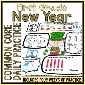 New Years 2018 Math Common Core First Grade Practice