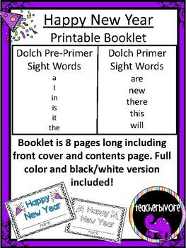 Happy New Year Emergent Reader for Kindergarten