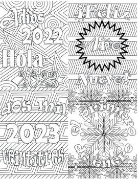 Happy New Year Feliz Año Nuevo Spanish Adult Coloring Page BUNDLE
