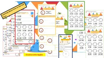 First Grade {Math - Time (Hour and Half past). No Prep!  {1.MD.B.3}